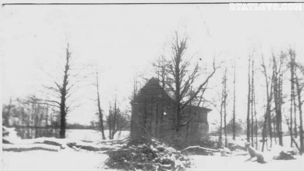 старое фото водяной мельницы в центре д.Двороец